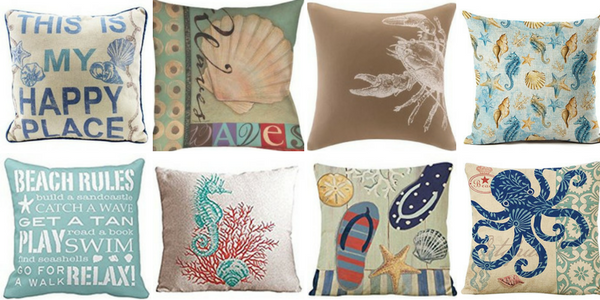 A variety of decorative throw pillows