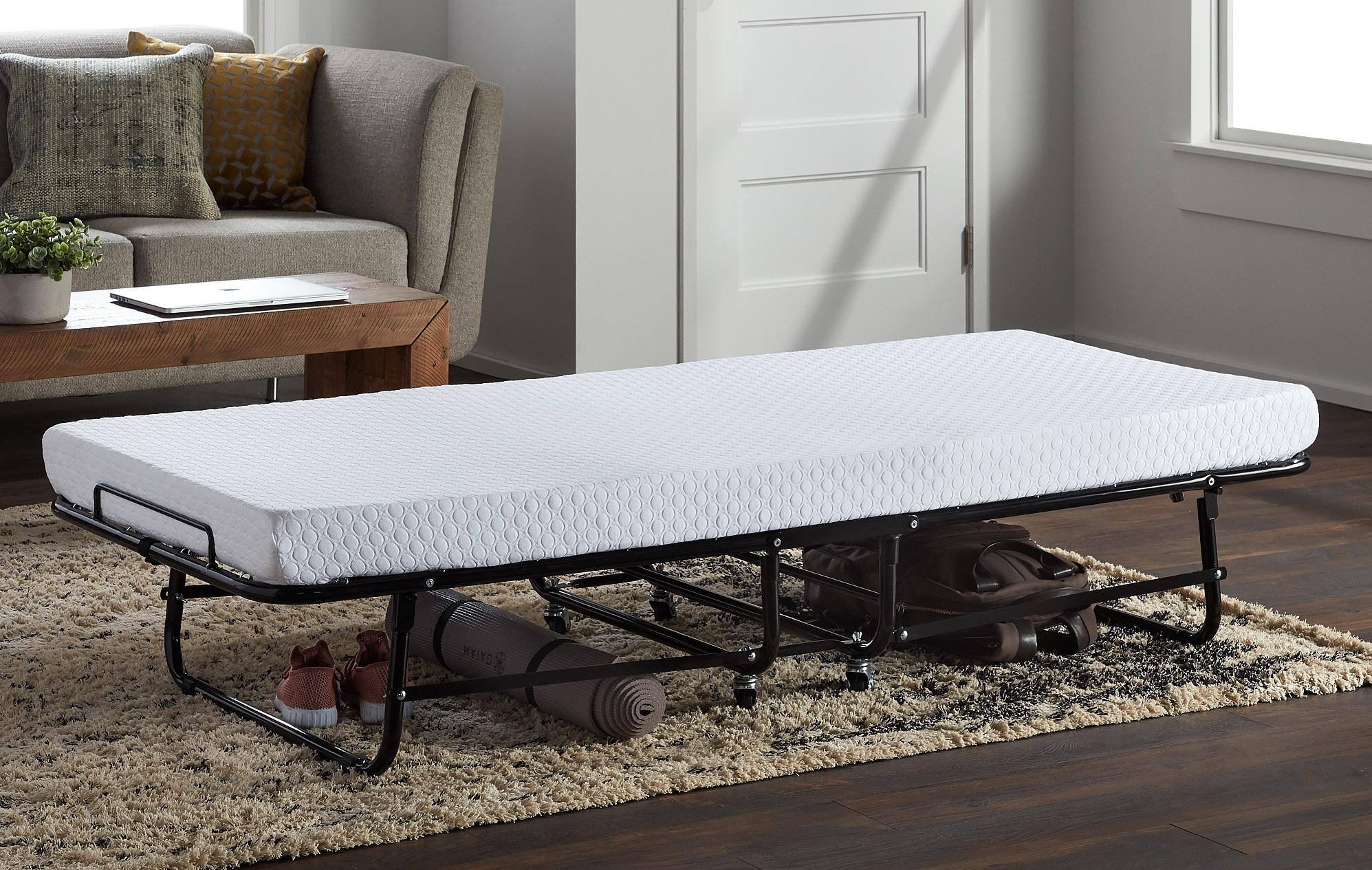 A rollaway folding bed that is comfortable