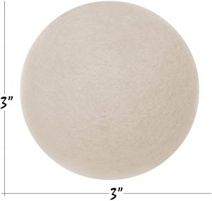 an image showing the size of a wool dryer ball