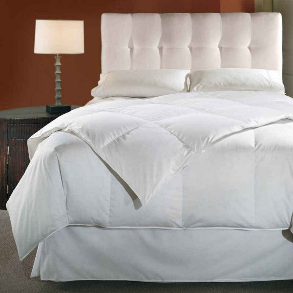 A 600 fill power comforter filled with white goose down