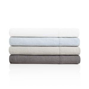 Linen sheet set from Malouf, made from flax grown in France.
