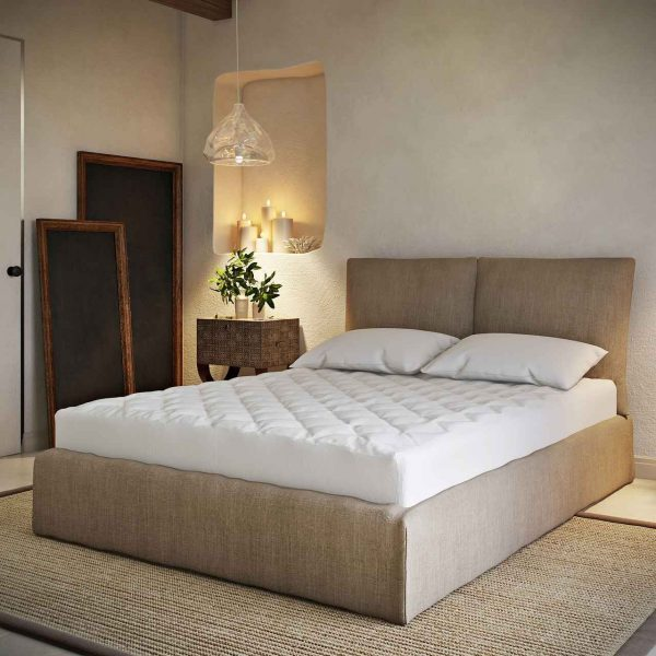 mattress pad from Downlite with a treated fabric with cooling properties